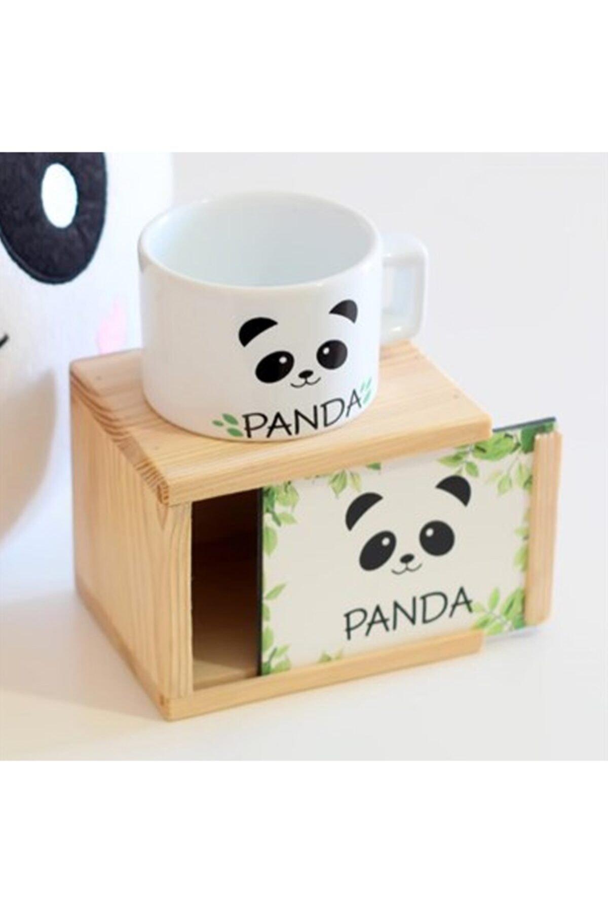 Ahşap Kutusunda Sevimli Panda Kupa Bardak Ve Yastık Seti