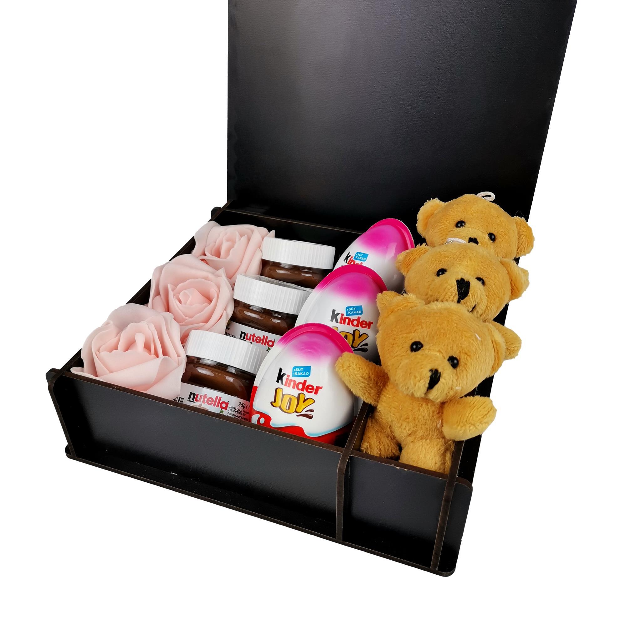 Sevgiliye Özel Ayıcıklı Kinder Nutella Hediye Kutusu