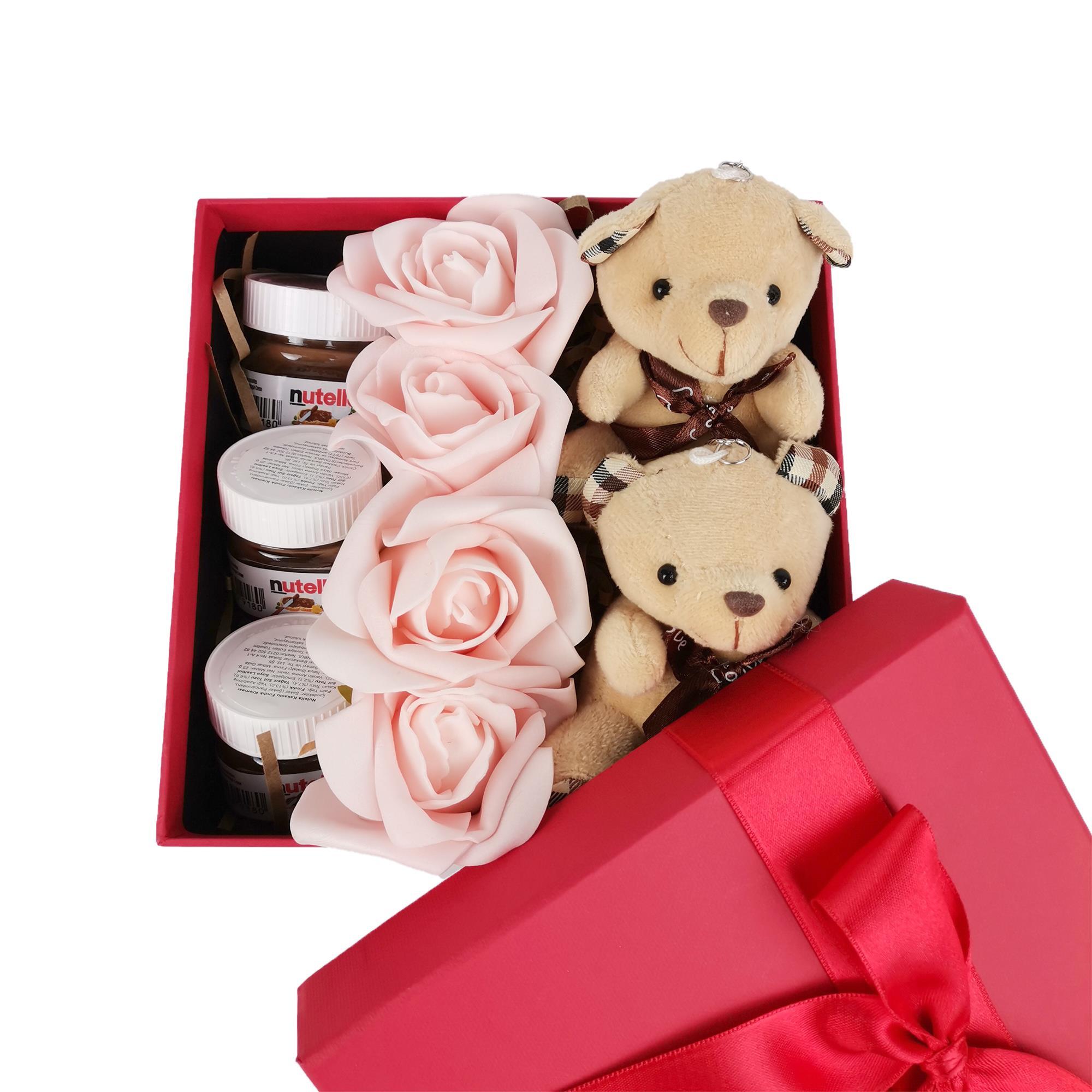 Sevgiliye Özel Ayıcıklı Nutella Özel Hediye Kutusu