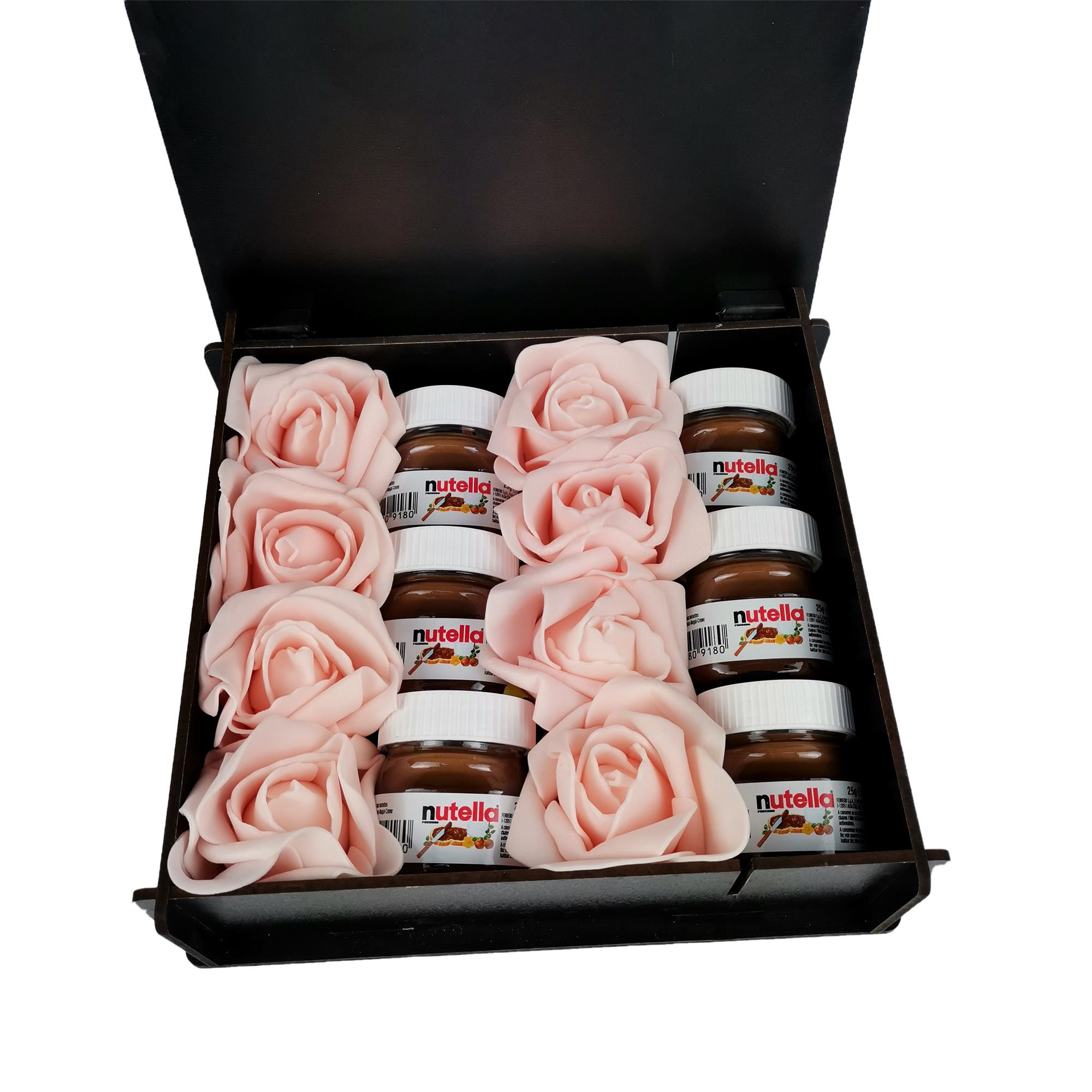 Ahşap Kutuda Sevgiliye Özel Nutella Gül Kutusu