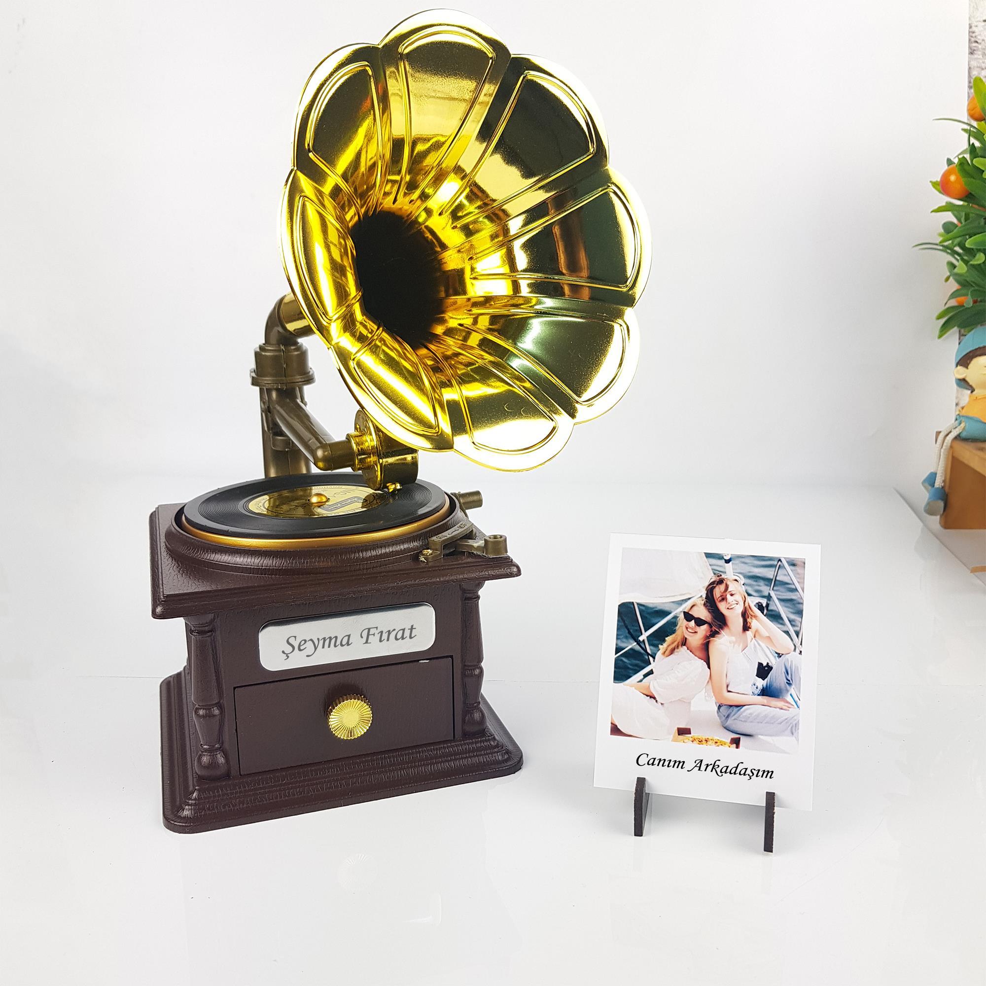 Kişiye Özel Gramofon Polaroid Foto Hediyeli